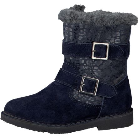 Ricosta ZOE Waterproof Fur Effect Biker Boots (Navy)